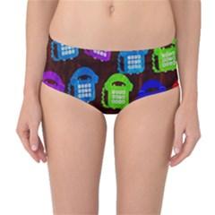 Grunge Telephone Background Pattern Mid Waist Bikini Bottoms