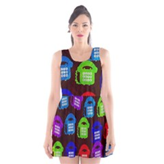 Grunge Telephone Background Pattern Scoop Neck Skater Dress