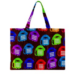 Grunge Telephone Background Pattern Zipper Large Tote Bag