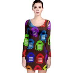 Grunge Telephone Background Pattern Long Sleeve Velvet Bodycon Dress