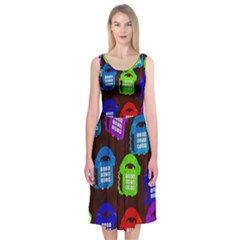 Grunge Telephone Background Pattern Midi Sleeveless Dress