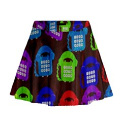 Grunge Telephone Background Pattern Mini Flare Skirt