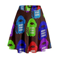 Grunge Telephone Background Pattern High Waist Skirt
