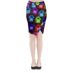 Grunge Telephone Background Pattern Midi Wrap Pencil Skirt