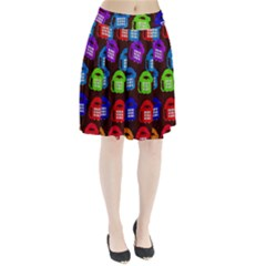 Grunge Telephone Background Pattern Pleated Skirt