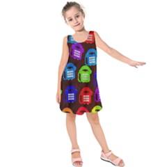 Grunge Telephone Background Pattern Kids  Sleeveless Dress