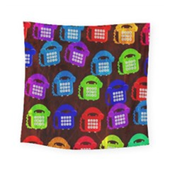 Grunge Telephone Background Pattern Square Tapestry (small)
