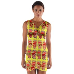 Funny Faces Wrap Front Bodycon Dress