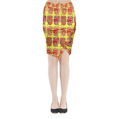 Funny Faces Midi Wrap Pencil Skirt