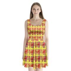 Funny Faces Split Back Mini Dress