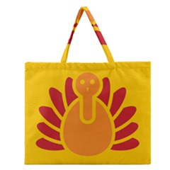 Animals Bird Pet Turkey Red Orange Yellow Zipper Large Tote Bag