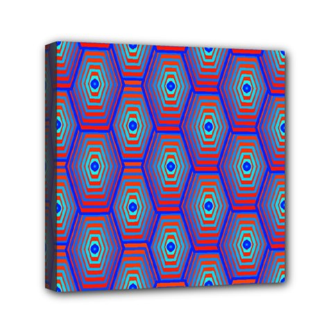 Red Blue Bee Hive Pattern Mini Canvas 6  X 6