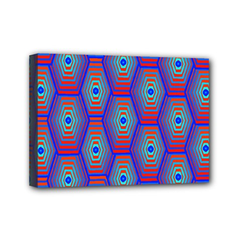 Red Blue Bee Hive Pattern Mini Canvas 7  X 5