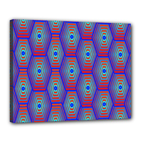 Red Blue Bee Hive Pattern Canvas 20  X 16
