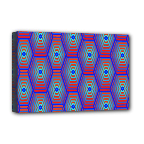 Red Blue Bee Hive Pattern Deluxe Canvas 18  X 12
