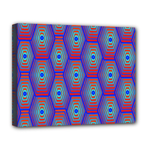 Red Blue Bee Hive Pattern Deluxe Canvas 20  X 16