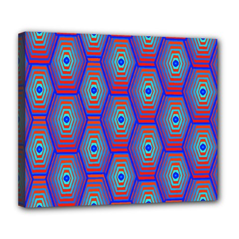 Red Blue Bee Hive Pattern Deluxe Canvas 24  x 20