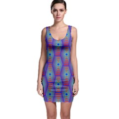 Red Blue Bee Hive Pattern Sleeveless Bodycon Dress