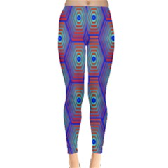 Red Blue Bee Hive Pattern Leggings