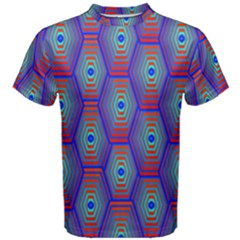 Red Blue Bee Hive Pattern Men s Cotton Tee