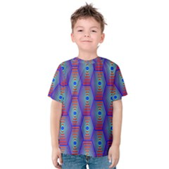 Red Blue Bee Hive Pattern Kids  Cotton Tee