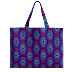 Red Blue Bee Hive Pattern Mini Tote Bag