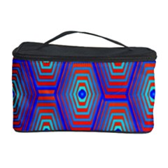Red Blue Bee Hive Pattern Cosmetic Storage Case