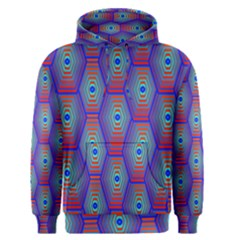 Red Blue Bee Hive Pattern Men s Pullover Hoodie