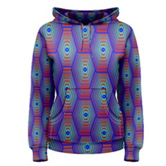 Red Blue Bee Hive Pattern Women s Pullover Hoodie