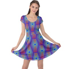 Red Blue Bee Hive Pattern Cap Sleeve Dresses