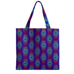 Red Blue Bee Hive Pattern Zipper Grocery Tote Bag