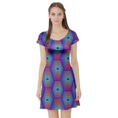 Red Blue Bee Hive Pattern Short Sleeve Skater Dress