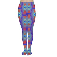 Red Blue Bee Hive Pattern Women s Tights