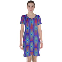 Red Blue Bee Hive Pattern Short Sleeve Nightdress