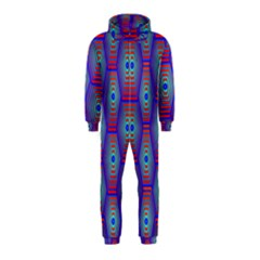 Red Blue Bee Hive Pattern Hooded Jumpsuit (Kids)