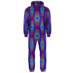 Red Blue Bee Hive Pattern Hooded Jumpsuit (Men)