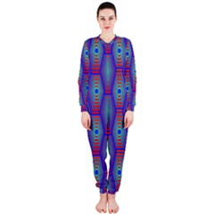 Red Blue Bee Hive Pattern Onepiece Jumpsuit (ladies)