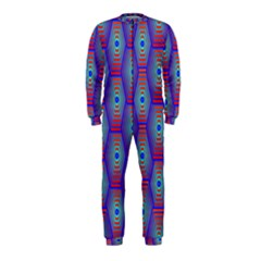 Red Blue Bee Hive Pattern Onepiece Jumpsuit (kids)