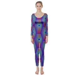 Red Blue Bee Hive Pattern Long Sleeve Catsuit