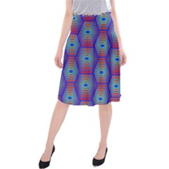 Red Blue Bee Hive Pattern Midi Beach Skirt