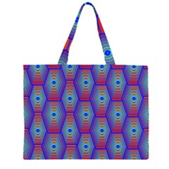 Red Blue Bee Hive Pattern Zipper Large Tote Bag