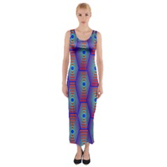 Red Blue Bee Hive Pattern Fitted Maxi Dress