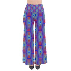 Red Blue Bee Hive Pattern Pants
