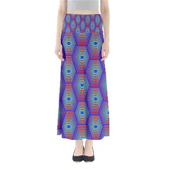 Red Blue Bee Hive Pattern Maxi Skirts