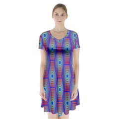 Red Blue Bee Hive Pattern Short Sleeve V Neck Flare Dress