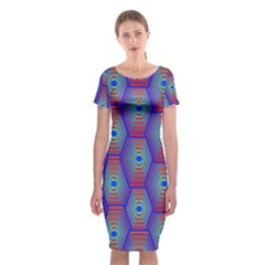 Red Blue Bee Hive Pattern Classic Short Sleeve Midi Dress