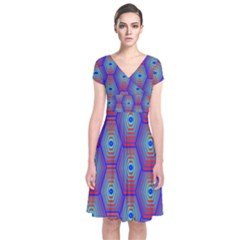Red Blue Bee Hive Pattern Short Sleeve Front Wrap Dress
