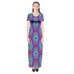 Red Blue Bee Hive Pattern Short Sleeve Maxi Dress
