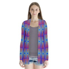Red Blue Bee Hive Pattern Cardigans