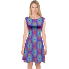 Red Blue Bee Hive Pattern Capsleeve Midi Dress